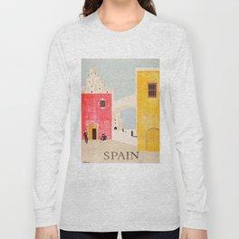 Spain Vintage Travel Poster Mid Century Minimalist Art Long Sleeve T-shirt