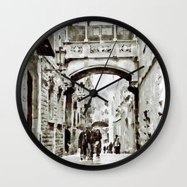 Carrer del Bisbe - Barcelona Black and White Wall Clock