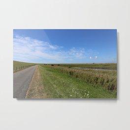Blue Sky over green North Sea Island Pellworm Metal Print