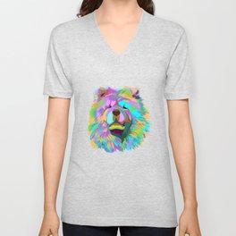 Colourful Chow Chow Dog Unisex V-Neck