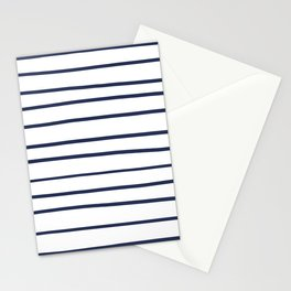 Pantone Blue Depths 19-3940 Hand Drawn Horizontal Lines on White Stationery Cards