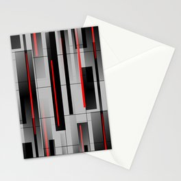 Off the Grid - Abstract - Gray, Black, Red Stationery Cards