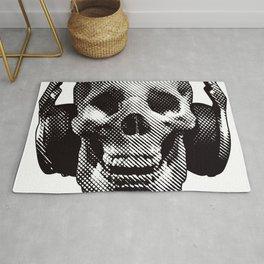 Hipster Skull Listening to Music on Headphones Rug