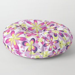 Abstract Art 20 23 Graphic fine art Ornament floral zigzag mixed pink green random Geometry pattern Floor Pillow
