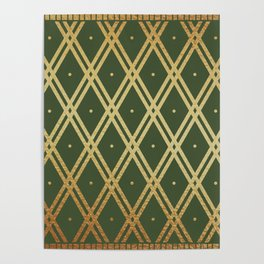 Luxury Gold Argyle - Green Poster