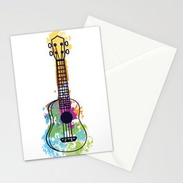 Ukulele guitar color rainbow musician gift Stationery Cards