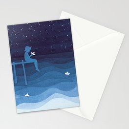 Boy with paper boats, blue Stationery Cards