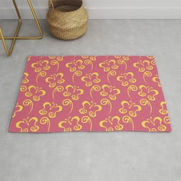 Yellow and Pink Butterfly and Scroll Pattern 2021 Color Of The Year Illuminating & Fruit Dove Rug