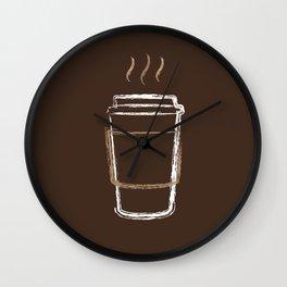 Coffee Cup Chalk Drawing Wall Clock