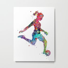 Girl Soccer Player Watercolor Sports Art Metal Print
