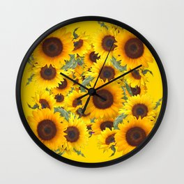 DECORATIVE WESTERN YELLOW SUNFLOWERS FIELDS Wall Clock