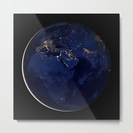 Image of Europe Africa and the Middle East at night Metal Print