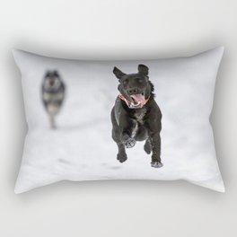 Dog Flying in Winter Rectangular Pillow