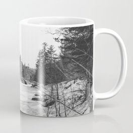 River in Winter   Minnesota Black and White Nature Photography Coffee Mug