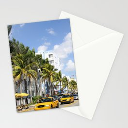 Yellow Cabs On Ocean Drive Stationery Cards