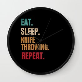Eat Sleep Knife Throwing Repeat Vintage Wall Clock