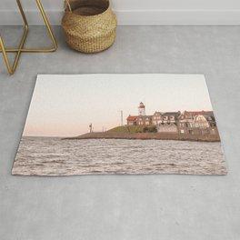 Lighthouse At Sunset Sea View Photo | Coast Of Dutch Village Urk Art Print | Europe Travel Photography Rug