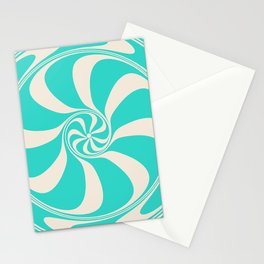 Turquoise Peppermint Candy Swirl Abstract Design  Stationery Cards