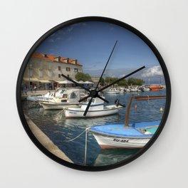 Supetar Boat reflections Wall Clock