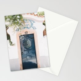 White Portuguese House with Blue Front Door in Cascais, Portugal | Travel Photography | Stationery Cards