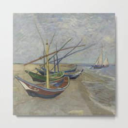 Fun Neck Gaiter Vincent Van Gogh Fishing Boats on the Beach at Saintes Maries Neck Gator Metal Print