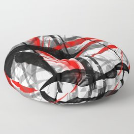 red black grey silver white bamboo abstract digital painting Floor Pillow