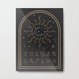 Sun, Moon and Zodiac Metal Print