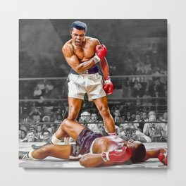 Mama Said I'm Gonna Knock You Out - Ali Knocks out Liston Boxing Portrait Painting oil on canvas Metal Print