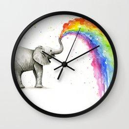 Rainbow Baby Elephant Wall Clock