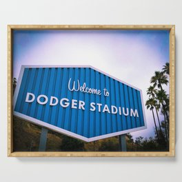 Welcome to Dodger Stadium | Los Angeles California Nostalgic Iconic Sign Sunset Art Print Tapestry Serving Tray
