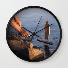 Wooden boat Wall Clock