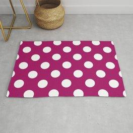 Jazzberry jam - violet - White Polka Dots - Pois Pattern Rug
