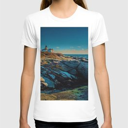 Island of Jamestown, Rhode Island Beaver Tail Lighthouse landscape painting T-shirt