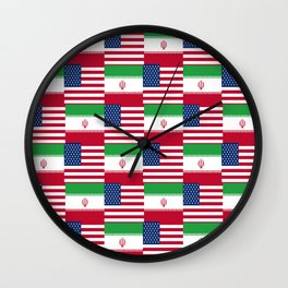 Mix of flag: Usa and Iran. Wall Clock