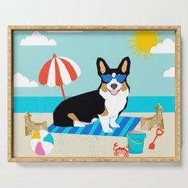 Tri Corgi Sandcastles Summer Beach Day sun corgi art tricolored corgi dog Serving Tray