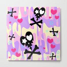 Melty Heart Skulls and Crossbones Metal Print