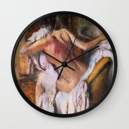 After The Bath Woman Drying Herself 1892 By Edgar Degas | Reproduction | Famous French Painter Wall Clock