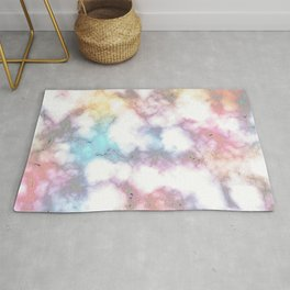 Blurred Rainbow Clouds: Faux Marble Pattern Rug