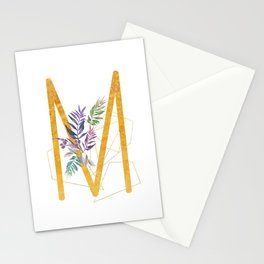 Modern glamorous personalized gold initial letter M, Custom initial name monogram gold alphabet prin Stationery Cards