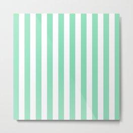 Vertical Stripes (Mint & White Pattern) Metal Print