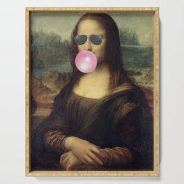 "Bubble Gum ""Cool Girl"" Mona Lisa pop art portrait painting by Leonardo da Vinci Serving Tray"