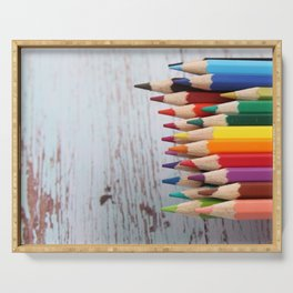 Rainbow of pencils  Serving Tray