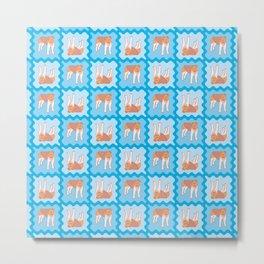 Fox Terrier Tiles Pattern Metal Print