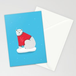 Sitting Polar Bear in Christmas Sweater Stationery Cards