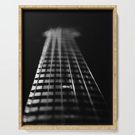Frets and Cords Black & White Abstract Still Life Guitar Photograph Serving Tray