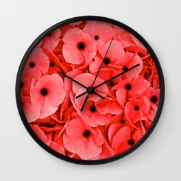 Remembrance Day | We Remember | Red Poppies | Nadia Bonello Wall Clock