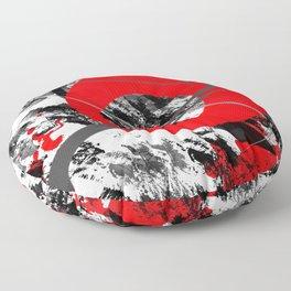 red storm abstract geometric digital art Floor Pillow
