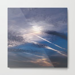 Crossroads in the Cloudy Sunset Metal Print