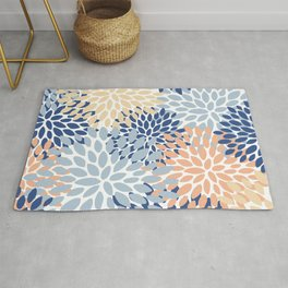 Festive, Floral Print, Coral, Peach, Light Blue, Navy, Colourful Prints Rug