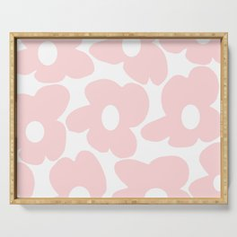 Large Baby Pink Retro Flowers on White Background #decor #society6 #buyart Serving Tray